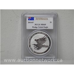 2014 - P Australia Fine .9999 Silver Wedge Tailed Eagle. PCGS M69. Low Mintage 50,000.
