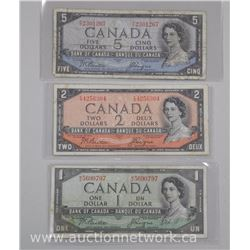 Lot of (3) Bank of Canada 1954 Notes: One Dollar Note, Two Dollar Note, Five Dollar Note. Devil Face