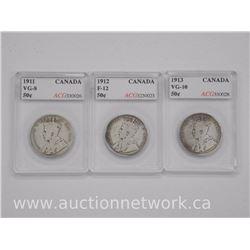 3x Canada Silver 50 Cent Coins (MCR) 1911, 1912, 1913 (VG-F) 'ACG' (ATTN: 3 Times the bid price)