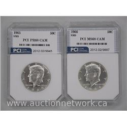 2x USA Silver Kennedy 50 Cent Coins 1965 - PR68 , 1966 MS68 CAM 'PCI' US CAT: $180.00 each (ATTN: 2