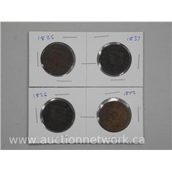 4x USA Large One Cent Coins: 1825, 1926, 1937 and 1842. (ATTN: 4 Times the bid price)
