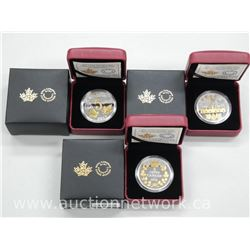 3x Royal Canadian Mint .9999 Fine Silver Large Five Cent Coins with 23kt Gold overlay. Royal Canadia