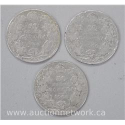 3x 'King Edward' .925 Sterling Silver Fifty Cent Coins: 1903,1906,1910 (ATTN: 3 times the bid price)