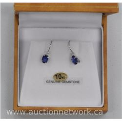 Ladies 10kt Gold Oval Blue Sapphire Earrings = 1.25t. (BB3) SRRV: $1900.00