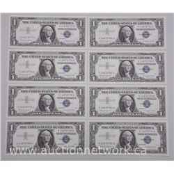 8x USA Silver Certificates series 1957B - One Dollar Notes. In Sequence (ATTN: 8 Times the bid price