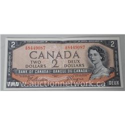 Bank of Canada 1954 Two Dollar Note (MME) I/B Devils Face (BC306) (AU)