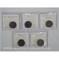 5x Canada Large One Cent: 1888, 1993, 1896, 1899, 1900 (VF20-30) (IM) (ATTN: 5 Times the bid price)