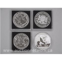 4x .999-.9999 Fine Pure Silver Bullion Rounds, Panda, Elephant, Coat of Arms, Britannia (ATTN: 4 Tim