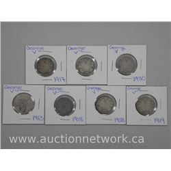 7x George V Silver Twenty Five Cent Coin. 1900s (ATTN: 7 Times the bid price)