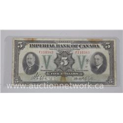 Imperial Bank of Canada (Nov 1933) Five Dollar Note. Chartered Large Format Note