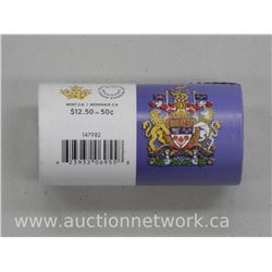 2016 - Mint Roll Canada Fifty Cent Coins 'Coat of Arms'
