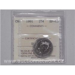 1991 Canada Twenty Five Cent SP65 ICCS coin.