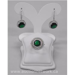 Ladies .925 Sterling Silver Custom Earring and Ring Set. Emerald Green Swarovski ELements = 11.25ct