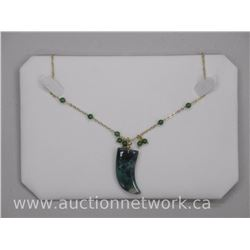 "Jade Gemstone 'Horn' Pendant with 34"" Chain"