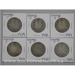 6x Canada Silver George V Fifty Cent Coins - 1900s (ATTN: 6 Times the bid price)