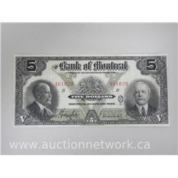 Bank of Montreal Chartered Five Dollar Note. Jan 1923 - Nice Note. Hand Signature.