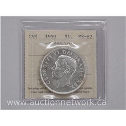 1950 Canada Silver Dollar Coin (EE) MS62 'ICCS'