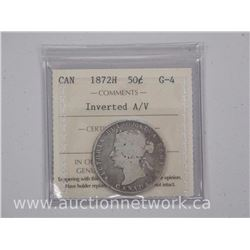 1872H Canada 50 Cent Coin (MIE) (G-4) ICCS. Scarce Coin
