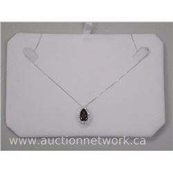 Ladies .925 Sterling Silver Pendant and Chain Natural Quartz Pear Shape (6.01ct) SRRV: $496.00