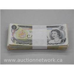 Lot of (100) Bank of Canada 1973 One Dollar Notes, Unsearched