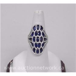 Ladies (HK) Custom Ring, .925 Sterling Silver with 19 Marquise Shape Sapphire blue Swarovski Element