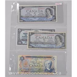 4x Bank of Canada Five Dollars. 1937,1954,1972 and 1954 Devil Face. (VF) (ATTN: 4 times the bid pric