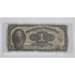 Government of Newfoundland One Dollar Note. Dated Jan 1920. Very Scarce Note (EXR)