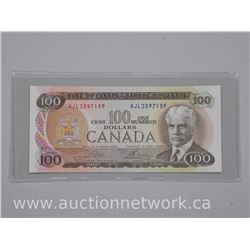 Bank of Canada 1975 One Hundred Dollar Note (AU+)