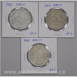 3 x Mexico 1968 Silver 25 Peso Olympic Coins (se) (ATTN: 3 times the bid price)