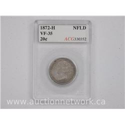 1872H NFLD 20 Cent Coin (MCM) MS-64 'ICCS'