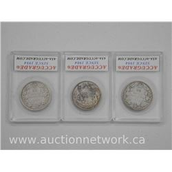 "3 x Canada Silver Fifty Cent Coins. ""1919, 1920, 1946"" (VG, F, EF) (mar) (ATTN: 3 times the bid pric"