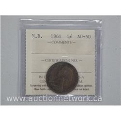 """Scarce"" 1861 New Brunswick Large One Cent ICCS Coin. (AU50)"