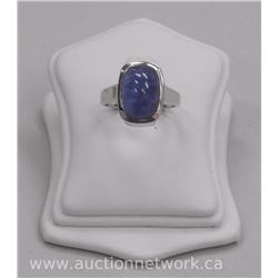 Ladies .925 Sterling Silver Custom Ring with Oval Cabochon Cut Natural 'Kyanite' = (10.56ct) Size 8
