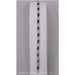 Ladies (H.K.) Custom Swarovski Elements Bracelet 42 = Marquise Clear and Sapphire blue Swarovski Ele