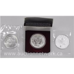 3x .9999 Fine Silver Maple Leaf Coins with Privy Marks. 1998, 2008, 2016 (ATTN: 3 Times the bid pric