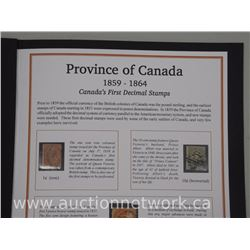 Province of Canada 1859-1864 Canada's First Decimal Stamps. Rare 5 Stamps in Folio