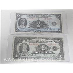 Lot of 2 Bank of Canada 1935 One and Two Dollar Banknotes. RARE Osbourne-Tower Matched Signatures.
