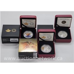3x .9999 Fine Silver Royal Canadian Mint - Collector Coins: Deer, Beaver at Work, Sabre Tooth-Cat (A