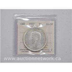 1937 Canada Silver Dollar Coin (KR) AU-50 'ICCS'