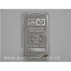 JM - Refiners .9999 Fine Silver Bullion 10 Troy ounce Bar with Serial Number. No Longer in Productio