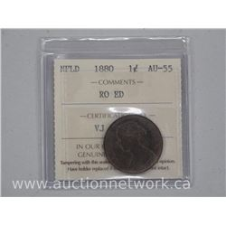 1880 NFLD One Cent Coin (SER) AU-55 'ICCS'