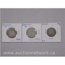 3x 'King Edward' Twenty Five Cent Coins: 1902h, 1909, 1910 (ATTN: 3 Times the bid price)