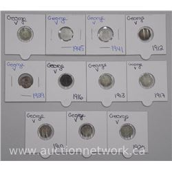 11x Canada 800-925 Silver George V 5 Cent Coins (ATN: 11 Times the bid price)