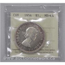 1954 Canada Silver Dollar Coin. ICCS MS64