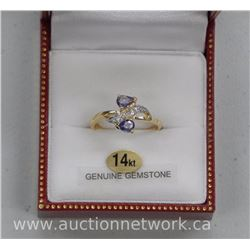Ladies 14kt Gold Custom Ring with 2-Pear Cut Blue Sapphires and 6 Bead Set White Sapphires. = .56ct.