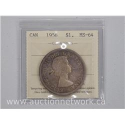 1956 Canada Silver Dollar Coin (KRR) MS-64 Toned 'ICCS'