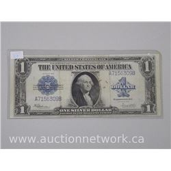 1923 USA One Dollar Silver Certificate Large Format Blue Seal Banknote. (VF) (ER)