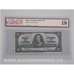 Bank of Canada 1937 Five Dollar Note Fine 18 'BCS'