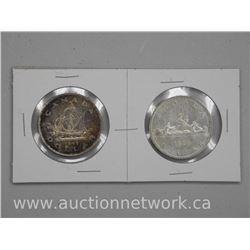 2x Canada Silver Dollar Coins 1949-1959 (ATTN: 2 Times the bid price)