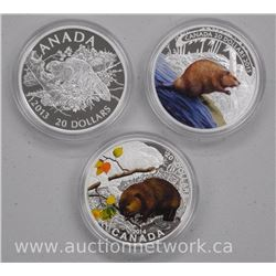 3x .9999 Fine Silver Royal Canadian Mint 'Beaver' Collector Coins Limited Edition with Cert (ATTN: 3